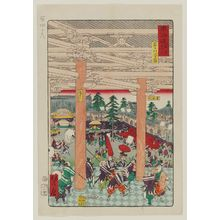 Kawanabe Kyosai: Old Picture of the Rashômon Gate (Rashômon no ko zu), from the series Scenes of Famous Places along the Tôkaidô Road (Tôkaidô meisho fûkei), also known as the Processional Tôkaidô (Gyôretsu Tôkaidô), here called Tôkaidô meisho tsuzuki - Museum of Fine Arts