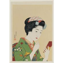 橋口五葉: Woman Appplying Color to Her Lips (Portrait of Chiyo, a Maiko of Gion, Kyoto) - ボストン美術館
