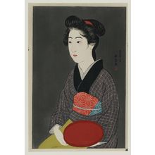 Hashiguchi Goyo: Waitress with a Red Tray (Portrait of Onao, a Maid at the Matsuyoshi Inn, Kyoto) - Museum of Fine Arts
