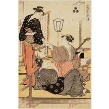 鳥居清長: Enjoying the Cool of Evening on the Riverbed at Shijô (Shijô-gawara yûsuzumi no tei), from a triptych (Sanmaitsuzuki) - ボストン美術館