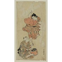 Kitao Shigemasa: Boy dancing while another plays a drum - Museum of Fine Arts