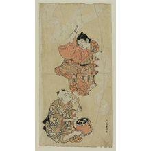 北尾重政: Boy dancing while another plays a drum - ボストン美術館