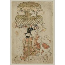 北尾重政: Two children with decorated umbrellas with toys and fans on a pole - ボストン美術館