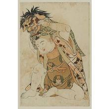 北尾重政: Young boy with demon's mask. - ボストン美術館