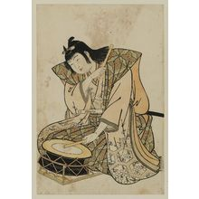 北尾重政: Drum on Stand, from an untitled set of Five Musicians (Gonin-bayashi) - ボストン美術館