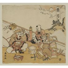 Morino Sôgyoku: The Eighth Month (Hazuki): Bishamonten, Daikoku, and Chinese Child, from an untitled series of the Seven Gods of Good Fortune in the Twelve Months - Museum of Fine Arts