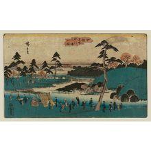 Utagawa Hiroshige: Open Garden at the Hachiman Shrine in Fukagawa (Fukagawa Hachiman yamabiraki), from the series Famous Places in Edo (Kôto meisho) - Museum of Fine Arts