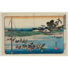 Utagawa Hiroshige: Gathering Shellfish at Low Tide at Susaki (Susaki shiohigari), from the series Famous Places in Edo (Kôto meisho) - Museum of Fine Arts