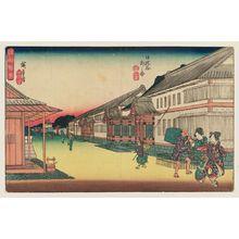 歌川広重: Outside Hibiya (Hibiya soto no zu), from the series Fine Views of Edo (Kôto shôkei) - ボストン美術館