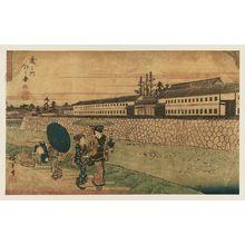 歌川広重: Outside the Toranomon Gate (Toranomon soto no zu), from the series Fine Views of Edo (Kôto shôkei) - ボストン美術館