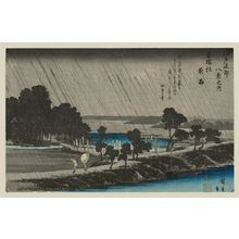 Utagawa Hiroshige: Night Rain at Azuma Wood (Azuma-no-mori yau), from the series Eight Views in the Environs of Edo (Edo kinkô hakkei no uchi) - Museum of Fine Arts