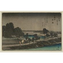 歌川広重: Night Rain at Azuma Wood (Azuma-no-mori yau), from the series Eight Views in the Environs of Edo (Edo kinkô hakkei no uchi) - ボストン美術館