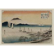 歌川広重: Returning Sails at Yabase (Yabase kihan), from the series Eight Views of Ômi (Ômi hakkei no uchi) - ボストン美術館