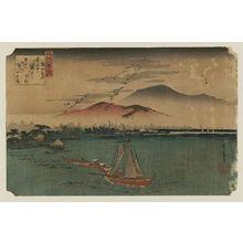 歌川広重: Descending Geese at Katada (Katada no rakugan), from the series Eight Views of Ômi (Ômi hakkei no uchi) - ボストン美術館