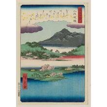 歌川広重: Evening Bell at Mii-dera Temple (Mii banshô), from the series Eight Views of Ômi (Ômi hakkei) - ボストン美術館