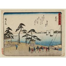 Utagawa Hiroshige: Arai, from the series Fifty-three Stations of the Tôkaidô Road (Tôkaidô gojûsan tsugi), also known as the Kyôka Tôkaidô - Museum of Fine Arts