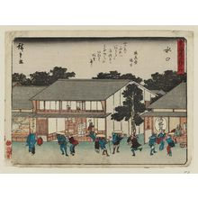 歌川広重: Minakuchi, from the series Fifty-three Stations of the Tôkaidô Road (Tôkaidô gojûsan tsugi), also known as the Kyôka Tôkaidô - ボストン美術館