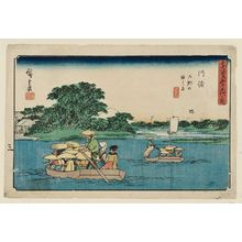 歌川広重: Kawasaki: Ferry Boats at the Rokugô Crossing (Kawasaki, Rokugô no watashibune), from the series The Fifty-three Stations of the Tôkaidô Road (Tôkaidô gojûsan tsugi no uchi), also known as the Gyôsho Tôkaidô - ボストン美術館