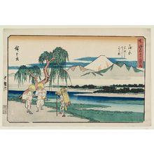 Utagawa Hiroshige: Kanbara: View of the Fuji River from Iwafuchi (Kanbara, Iwafuchi yori Fujikawa o miru zu), from the series The Fifty-three Stations of the Tôkaidô Road (Tôkaidô gojûsan tsugi no uchi), also known as the Gyôsho Tôkaidô - Museum of Fine Arts