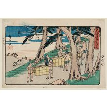 歌川広重: Kameyama, from the series The Fifty-three Stations of the Tôkaidô Road (Tôkaidô gojûsan tsugi no uchi), also known as the Gyôsho Tôkaidô - ボストン美術館