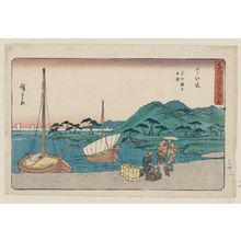 Utagawa Hiroshige: Maisaka: Sea Ferry at Imagiri (Maisaka, Imagiri kaijô funawatashi), from the series The Fifty-three Stations of the Tôkaidô Road (Tôkaidô gojûsan tsugi no uchi), also known as the Gyôsho Tôkaidô - Museum of Fine Arts