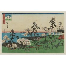Utagawa Hiroshige: Cherry-blossom Viewing at Goten-yama (Goten-yama hanami), from the series Three Views of Famous Places in Edo (Edo meisho mittsu no nagame) - Museum of Fine Arts