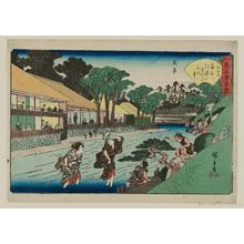 Utagawa Hiroshige: Ôji: the Ôgiya Restaurant (Ôji, Ôgiya), from the series Famous Restaurants of Edo (Edo kômei kaitei zukushi) - Museum of Fine Arts