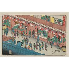 歌川広重: Thriving Business in Saruwaka-machi (Saruwaka-machi hanjô no zu), from the series Famous Places in Edo (Edo meisho) - ボストン美術館