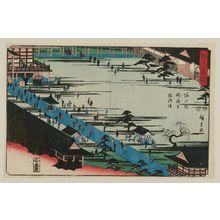 歌川広重: Visiting the Founder's Hall at Myôhô-ji Temple in Horinouchi (Horinouchi Myôhô-ji Sôshi môde), from the series Famous Places in Edo (Edo meisho) - ボストン美術館