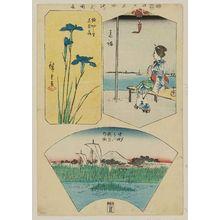 Utagawa Hiroshige: Takanawa (Woman on bench); Horikiri no sato, hana shobu (Iris); Nakazu (Mt. Fuji above marsh grass in fan shape), from the series Cutout Pictures of Famous Places in Edo (Edo meisho harimaze zue) - Museum of Fine Arts