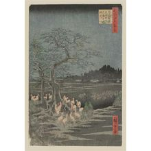 Utagawa Hiroshige: New Year's Eve Foxfires at the Changing Tree, Ôji (Ôji Shôzoku enoki Ômisoka no kitsunebi), from the series One Hundred Famous Views of Edo (Meisho Edo hyakkei) - Museum of Fine Arts