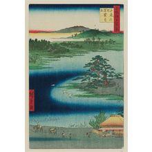 Utagawa Hiroshige: Robe-Hanging Pine, Senzoku Pond (Senzoku no ike Kesakakematsu), from the series One Hundred Famous Views of Edo (Meisho Edo hyakkei) - Museum of Fine Arts