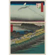 歌川広重: Nihon Embankment, Yoshiwara (Yoshiwara Nihonzutsumi), from the series One Hundred Famous Views of Edo (Meisho Edo hyakkei) - ボストン美術館