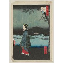 歌川広重: Night View of Matsuchiyama and the San'ya Canal (Matsuchiyama San'yabori yakei), from the series One Hundred Famous Views of Edo (Meisho Edo hyakkei) - ボストン美術館