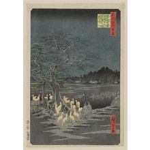 歌川広重: New Year's Eve Foxfires at the Changing Tree, Ôji (Ôji Shôzoku enoki Ômisoka no kitsunebi), from the series One Hundred Famous Views of Edo (Meisho Edo hyakkei) - ボストン美術館
