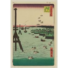 Utagawa Hiroshige: View of Shiba Coast (Shibaura no fûkei), from the series One Hundred Famous Views of Edo (Meisho Edo hyakkei) - Museum of Fine Arts