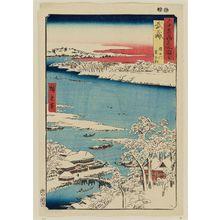 Utagawa Hiroshige: Musashi Province: Sumida River, Snowy Morning (Musashi, Sumidagawa, Yuki no ashita), from the series Famous Places in the Sixty-odd Provinces [of Japan] ([Dai Nihon] Rokujûyoshû meisho zue) - Museum of Fine Arts