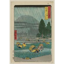 Utagawa Hiroshige: Hôki Province: Ôno, Distant View of Mount Daisen (Hôki, Ôno, Daisen enbô), from the series Famous Places in the Sixty-odd Provinces [of Japan] ([Dai Nihon] Rokujûyoshû meisho zue) - Museum of Fine Arts