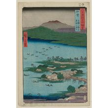 歌川広重: Kaga Province: The Eight Wonders of Kanazawa, The Fishing Fires on Lake Renko (Kaga, Kanazawa hasshô no uchi, Renko no isaribi), from the series Famous Places in the Sixty-odd Provinces [of Japan] ([Dai Nihon] Rokujûyoshû meisho zue) - ボストン美術館