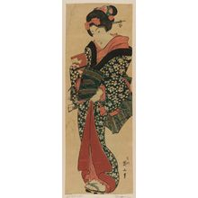 Kikugawa Eizan: Standing Girl Holding a Package - Museum of Fine Arts