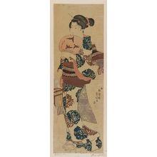 歌川国芳: Woman with Fan and Insect Cage - ボストン美術館