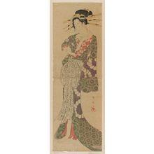 勝川春扇: Courtesan Pushing Up Her Sleeve - ボストン美術館