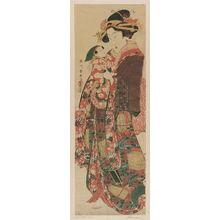 Katsukawa Shunsen: Standing Beauty Holding a Doll - Museum of Fine Arts