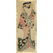 Kikugawa Eizan: Courtesan Holding a Letter - Museum of Fine Arts