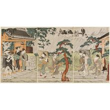 Torii Kiyonaga: A Sudden Shower at the Mimeguri Inari Shrine - Museum of Fine Arts