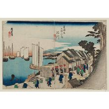 Utagawa Hiroshige: Shinagawa: Departure of the Daimyô (Shinagawa, shokô detachi), from the series Fifty-three Stations of the Tôkaidô Road (Tôkaidô gojûsan tsugi no uchi), also known as the First Tôkaidô or Great Tôkaidô - Museum of Fine Arts