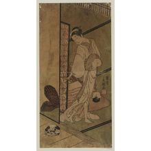 Ippitsusai Buncho: Woman looking at sleeping dog - Museum of Fine Arts