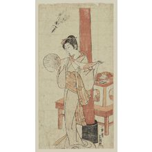 Ippitsusai Buncho: Woman holding fan, with scarf in her mouth - Museum of Fine Arts