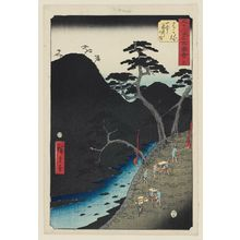 歌川広重: No. 11, Hakone: Night Procession in the Mountains (Hakone, sanchû yagyô no zu), from the series Famous Sights of the Fifty-three Stations (Gojûsan tsugi meisho zue), also known as the Vertical Tôkaidô - ボストン美術館