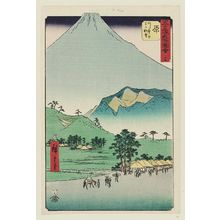 Utagawa Hiroshige: No. 14, Hara: View of Fuji and the Ashitaka Mountains (Hara, Ashitakayama Fuji chôbô), from the series Famous Sights of the Fifty-three Stations (Gojûsan tsugi meisho zue), also known as the Vertical Tôkaidô - Museum of Fine Arts